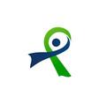 ribbon healthy logo design template vector image vector image