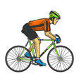 road bicycle racer sketch engraving vector image vector image