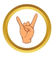 Rock and Roll hand sign icon cartoon style vector image vector image