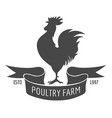rooster poultry farm emblem vector image