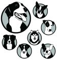 Round dog emblems and stickers