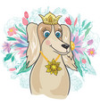 royal dog with flower bouquet vector image