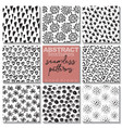 set of eight hand drawn ink seamless patterns vector image vector image