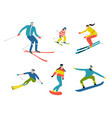 skiers and snowboarders cute doodle people funny vector image vector image