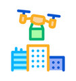 smart city drone delivery icon outline vector image vector image