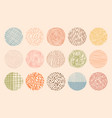 trendy color circle textures made with ink vector image