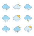 weather forecast color icons set vector image