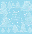 white christmas fir trees and lettering on blue vector image