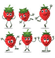 strawberry fruit character set vector image