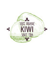100 percent organic kiwi label with tropical fruit vector image