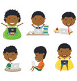 african american students learn and do homework vector image