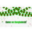 bangladesh garland flag with confetti on vector image vector image