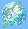 beautiful white sea horse hippocampus ill vector image