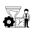 businessman clock hourglass time vector image vector image
