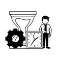 Businessman clock hourglass time