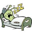 Cartoon an little worm that sleeps
