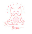cute cartoon cat in yoga pose meditation a lotus vector image vector image