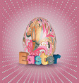 easter poster egg on pink pattern eggs vector image
