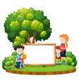 family at the park banner vector image vector image