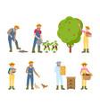 farmers woman and man set vector image vector image