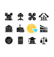 financial literacy black glyph icons set on white vector image