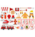 firefighter elements fire department emergency vector image