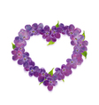 Floral heart with lilac flowers vector image