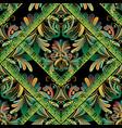 floral seamless pattern greek key meanders vector image