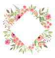 flowers frame rhombus roses card on white vector image