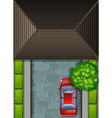 Garage rooftop and red car vector image vector image