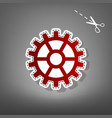 gear sign red icon with for applique from vector image vector image