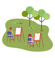girl and boy drawing picture at canvas sitting vector image