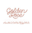 glitter rose gold handwritten alphabet vector image vector image