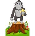 gorilla cartoon standing on tree stump vector image vector image