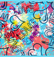 graffiti valentine day seamless background of vector image