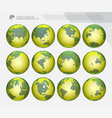 green dotted earth globes sets vector image vector image