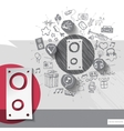 Hand drawn speaker icons with icons background vector image