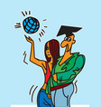 happy graduates boy and girl after graduation vector image vector image