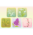 icon flower set with lilac lily snowdrop sakura vector image vector image