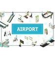 isometric airport concept vector image vector image