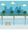 landscape road trees lanterns city background vector image