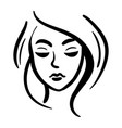 line woman head icon black on white background vector image
