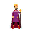 majestic king in gold crown standing and holding vector image vector image