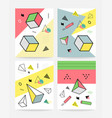 memphis style cards design collection of colorful vector image