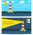 Modern weather background with lighthouse sun moon vector image vector image