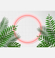neon circle frame on white rectangular tile vector image vector image