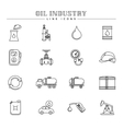 Oil industry and energy line icons set vector image vector image