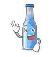 okay soda water bottle near cartoon table vector image
