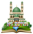 open book with happy islamic kids holding letters vector image vector image