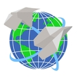 paper airplanes fly around planet earth vector image